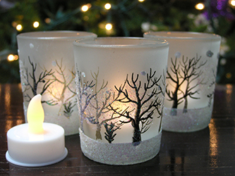 frosted glass christmas votive candle holder trees - How To Decorate Votive Candle Holders For Christmas